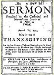 Sermon printed 1705 at Quacks the Printers, York
